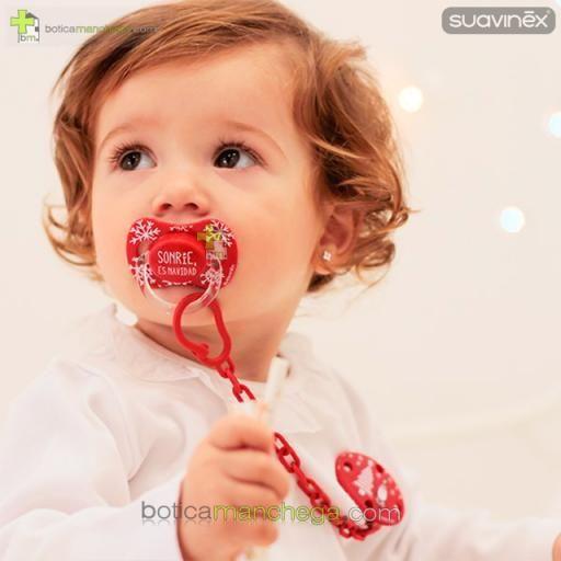 "Chupete WINTER/NAVIDAD Suavinex Modelo ""Sonrie es Navidad"", Tetina Anatómica Látex y Fisiológica Silicona [1]"