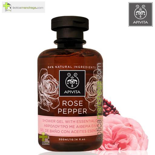 Rose Pepper Gel de Baño con Aceites Esenciales Rosa de Bulgaria y Pimienta Negra Apivita, 300 ml