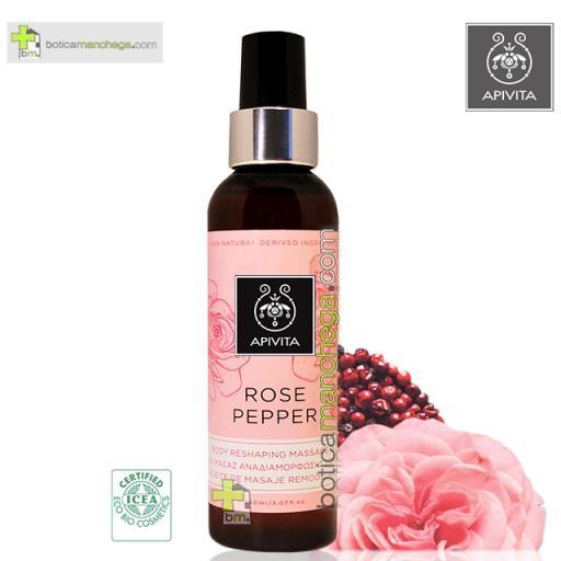 Rose Pepper Aceite de Masaje Corporal Remodelante con Pimienta Rosa y Rosa de Bulgaria Apivita, 150ml