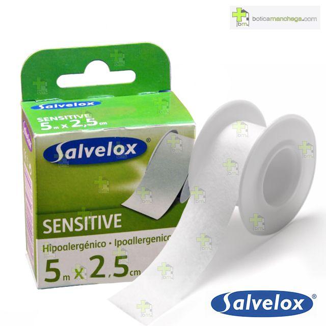 "Salvelox SENSITIVE 5 m x 2,5 cm Esparadrapo ""papel"" blanco"