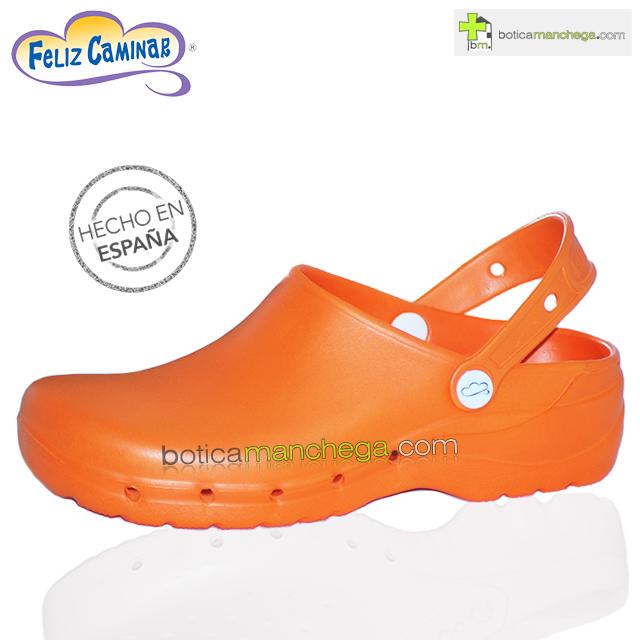Zuecos Sanitarios Flotantes Naranja Feliz Caminar Profesionales