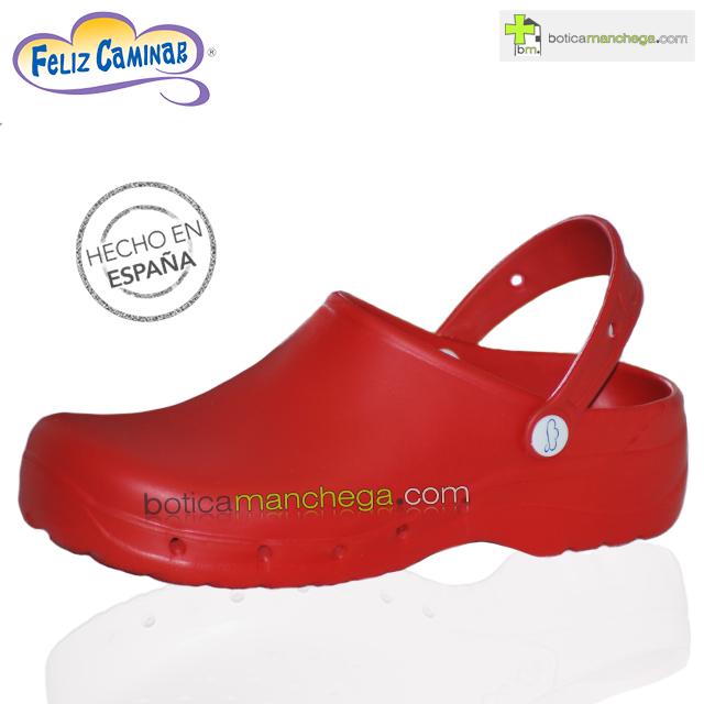Zuecos Sanitarios Flotantes Rojo Feliz Caminar Profesionales