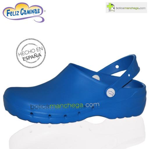 Zuecos Sanitarios Flotantes Azul Eléctrico Feliz Caminar Profesionales
