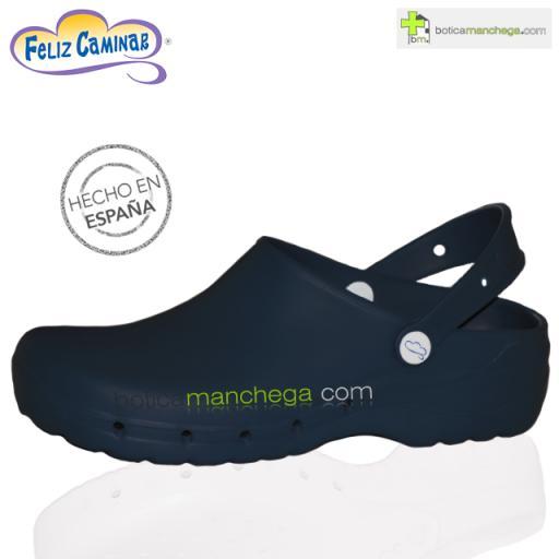 Zuecos Sanitarios Flotantes Azul Marino Feliz Caminar Profesionales