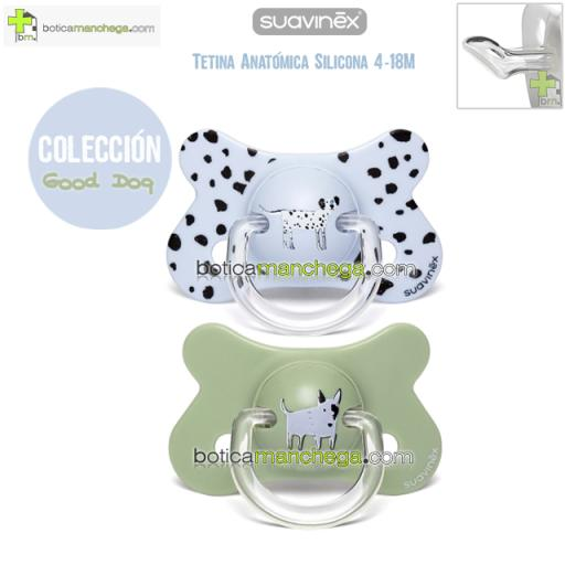 Pack 2 Chupetes Fusion 4-18M Suavinex Colección Good Dog Mod. Azul Dálmata / Verde Bull Terrier, Tetina Anatómica Silicona
