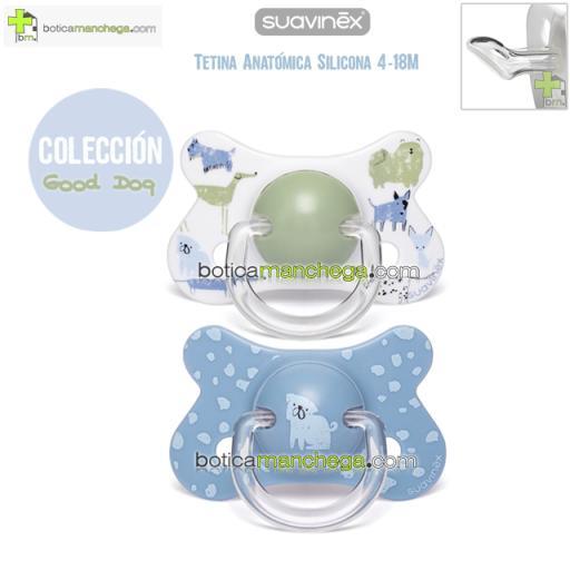 Pack 2 Chupetes Fusion 4-18M Suavinex Colección Good Dog Mod. Verde / Azul Bulldog Inglés, Tetina Anatómica Silicona
