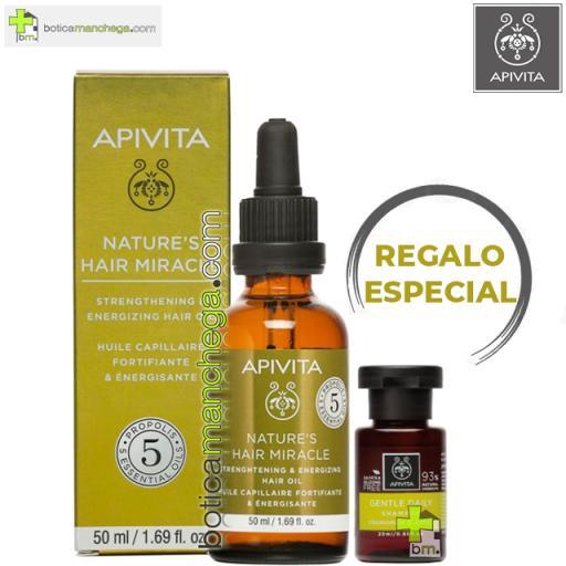 Aceite Fortificante y Energizante para el cabello Apivita con Propóleo y 5 aceites esenciales, 50 ml. REGALO: Champú Cuidado Capilar Holístico a Elegir, 20 ml