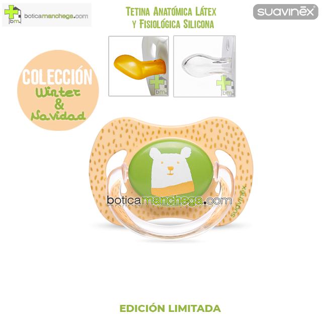 Chupete WINTER/NAVIDAD Suavinex Modelo Oso Verde/Dorado, Tetina Anatómica Látex y Fisiológica Silicona