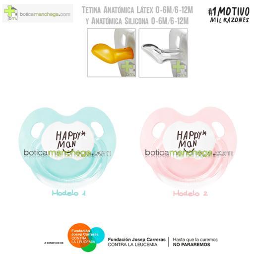 Chupete HAPPY MAN contra la Leucemia Mint / Rosa Empolvado Tetina Anatómica Látex o Silicona - Proyecto 1MOTIVOMILRAZONES