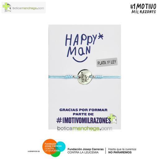 Pulsera solidaria HAPPY MAN contra la Leucemia - Proyecto 1MOTIVOMILRAZONES, Color Azul Claro