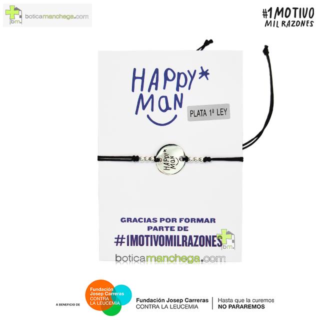 Pulsera solidaria HAPPY MAN contra la Leucemia - Proyecto 1MOTIVOMILRAZONES, Color Negro