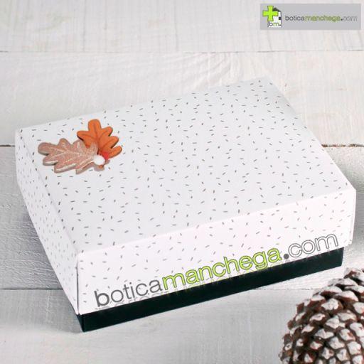 Caja Regalo Botica Manchega gift box caixa regal caixa de agasallo Navidad blanca estrellas doradas copitos nieve original hojas pompones.png