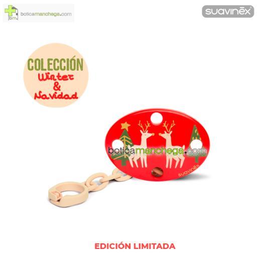 Broche Ovalado Rojo Modelo Renos/Abetos Colección WINTER/NAVIDAD Suavinex +0M