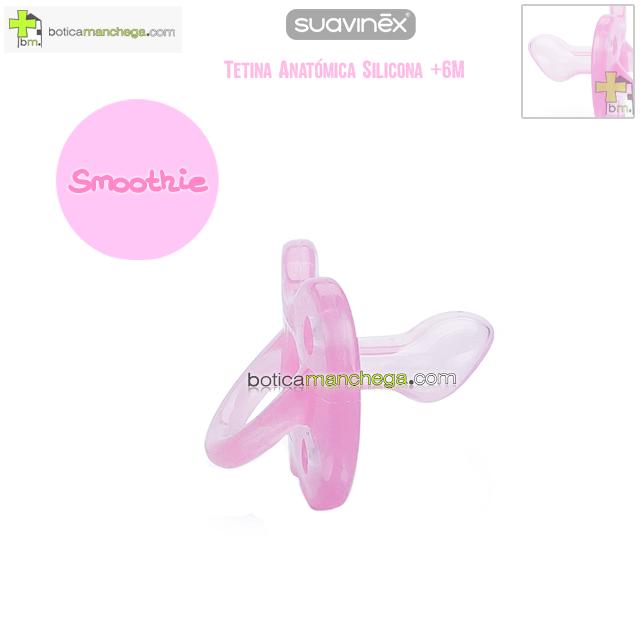 Chupete +6M Smoothie Todo Silicona Rosa Tetina Anatómica, Colección Clouds Suavinex