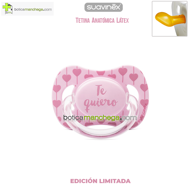 Chupete TE QUIERO Suavinex Tetina Anatómica Látex, Mod. Corazones Rosa