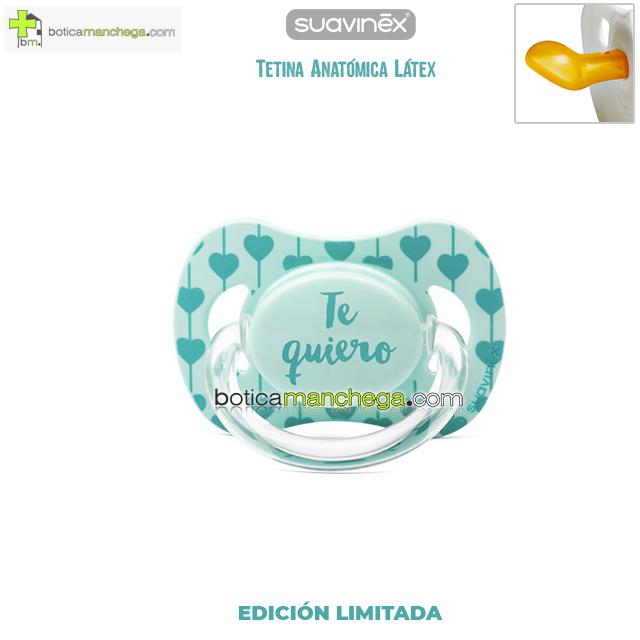 Chupete TE QUIERO Suavinex Tetina Anatómica Látex, Mod. Corazones Mint