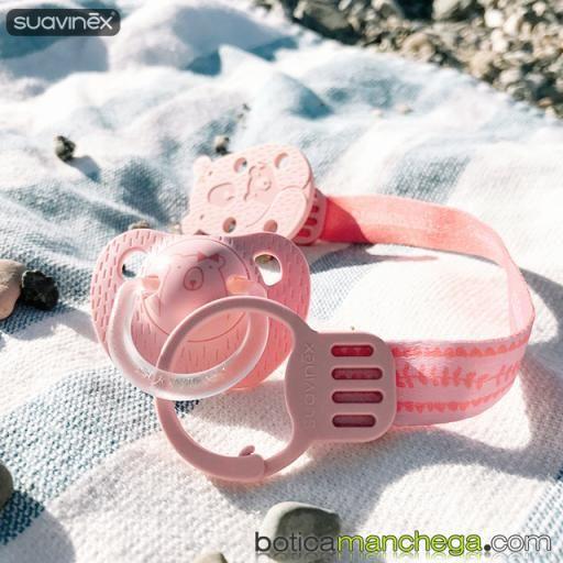 Suavinex Broche con Cinta +0M Clip Colección Meaningful Life Modelo Rosa/Coral Osita [2]