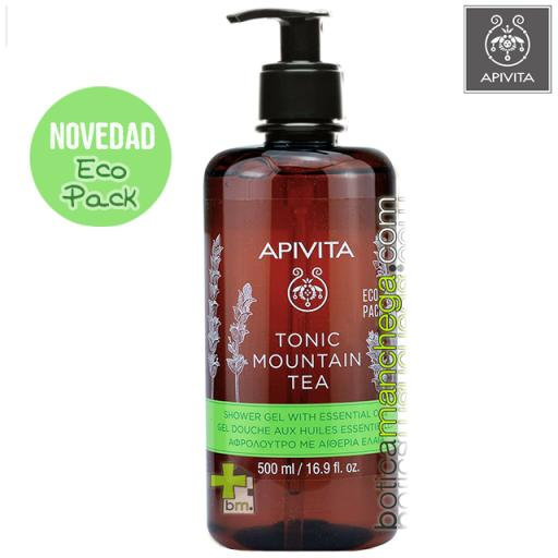 Tonic Mountain Tea Gel de Baño con Aceites Esenciales y Té de Montaña Apivita ECO PACK, 500 ml