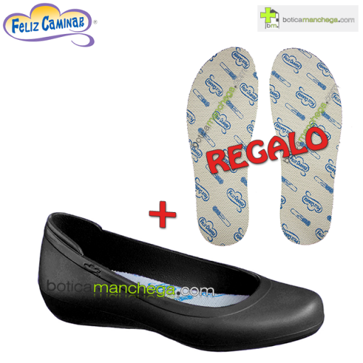Manoletina color Negro + REGALO Plantillas Coolmax Feliz Caminar