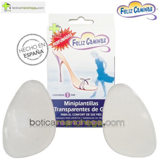 Miniplantillas Transparentes Gel Feliz Caminar Talla Única, 1 Par