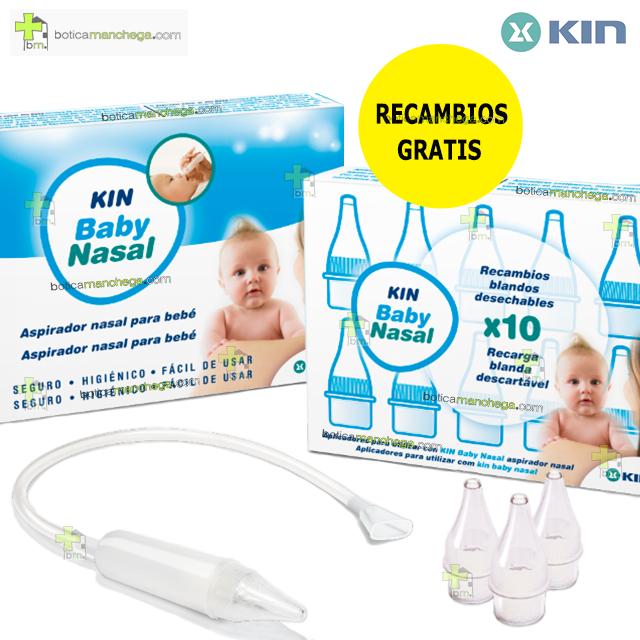 PROMO- Aspirador Nasal KIN Baby con 3 Recambios Blandos+10 Recambios GRATIS