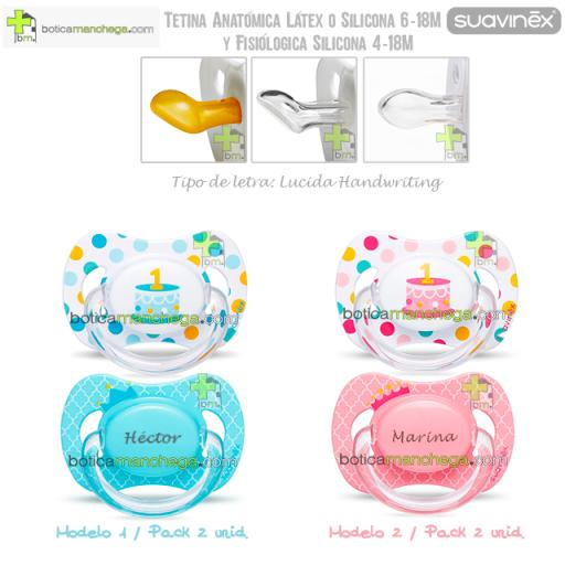Suavinex Pack Personalizado 2 Chupetes Cumpleaños hasta 18M: Confetti/Tarta 1 añito + Corona con nombre, Tetina Anatómica Látex, Anatómica Silicona ó Fisiológica Silicona [1]