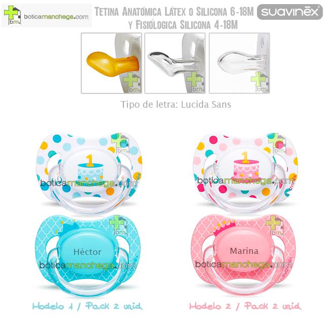 Suavinex Pack Personalizado 2 Chupetes Cumpleaños hasta 18M: Confetti/Tarta 1 añito + Corona con nombre, Tetina Anatómica Látex, Anatómica Silicona ó Fisiológica Silicona