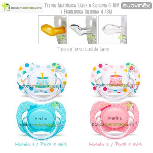 Suavinex Pack Personalizado 2 Chupetes Cumpleaños hasta 18M: Confetti/Tarta 1 añito + Corona con nombre, Tetina Anatómica Látex, Anatómica Silicona ó Fisiológica Silicona [0]