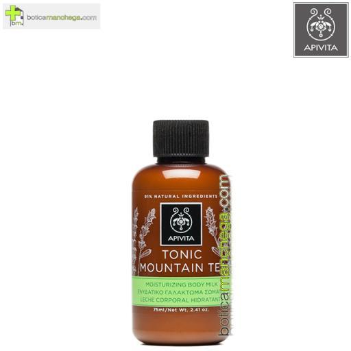 Mini Tonic Mountain Tea Leche Corporal Hidratante y Tonificante con Té de Montaña Apivita, 75 ml