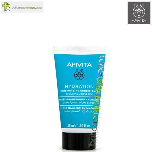 Mini Acondicionador Hidratante Apivita para todo tipo de Cabello con Ácido Hialurónico y Aloe, 50 ml