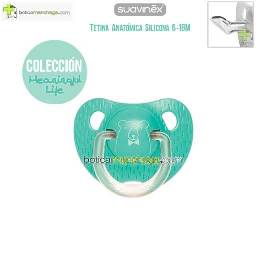 Chupete 6-18M Suavinex Evolution Tetina Anatómica Silicona Colección Meaningful Life Modelo Verde Mint Osito