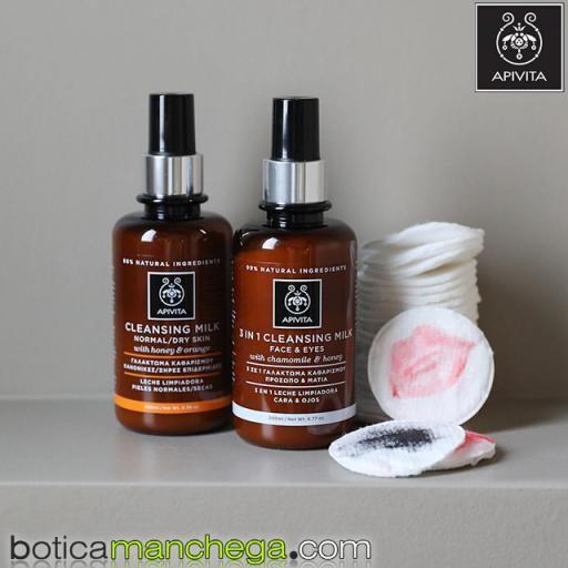 PROMO Leche Limpiadora Pieles Normales- Secas con Miel y Naranja Cleansing Milk Apivita, 200 ml + REGALO: Crema Facial Antimanchas SPF50, 15 ml [2]