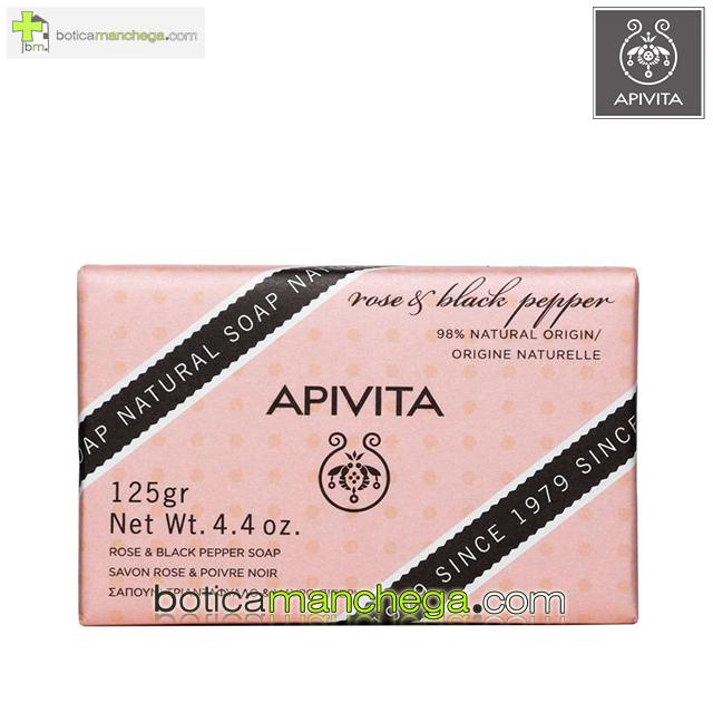 Jabón Natural Rosa y Pimienta Negra Apivita- Natural Soap with Rose & Black Pepper, 125g