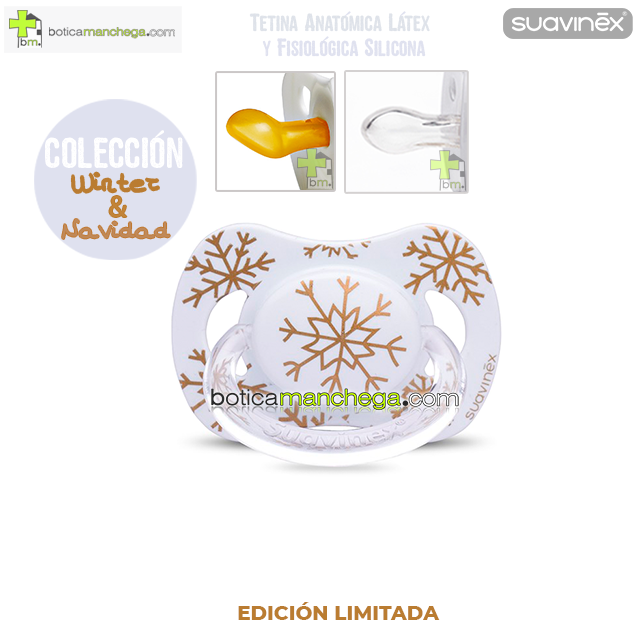 Chupete WINTER/NAVIDAD Suavinex Modelo Blanco Copos Dorados, Tetina Anatómica Látex y Fisiológica Silicona