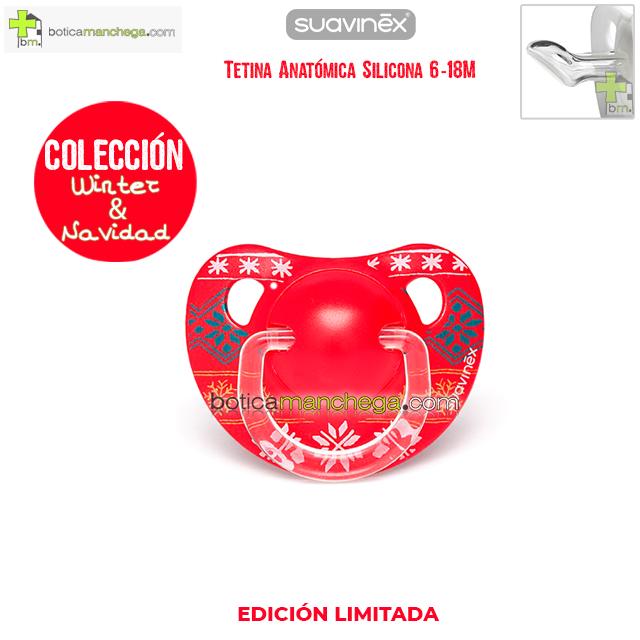 Chupete WINTER/NAVIDAD 6-18M Suavinex Modelo Winter Wishes Rojo, Tetina Anatómica Silicona