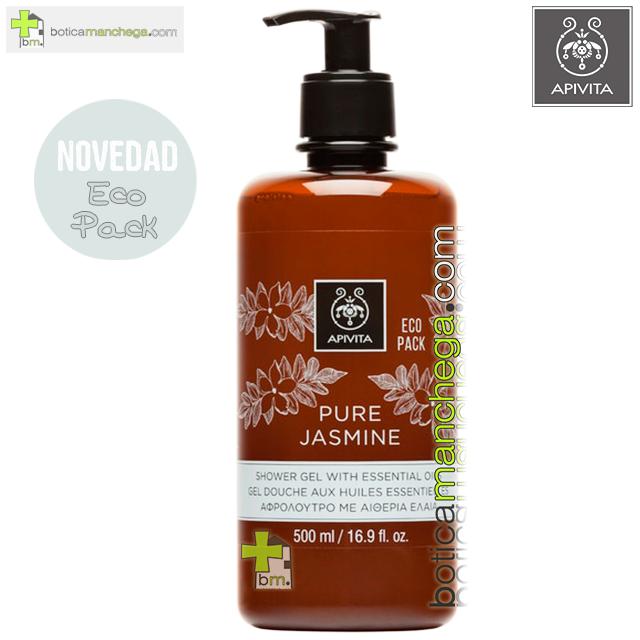 Pure Jasmine Gel de Baño con Aceites Esenciales ECO PACK Apivita, 500 ml
