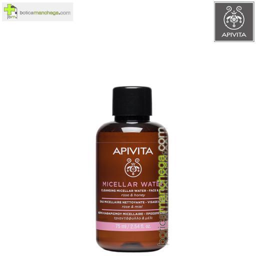 Mini Agua Micelar Limpiadora Rostro y Ojos Cleansing Apivita Con Rosa y Miel, 75 ml