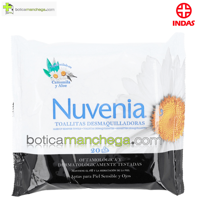 Nuvenia Toallitas Desmaquilladoras Indas para Piel Sensible y Ojos con Camomila y Aloe, 20 unidades