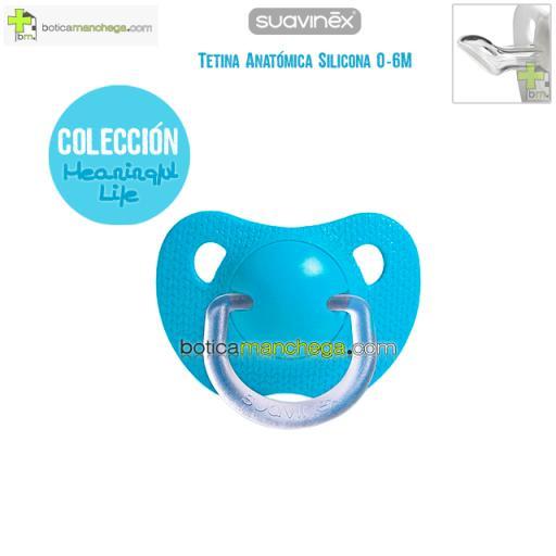 Chupete 0-6M Suavinex Evolution Azul Tetina Anatómica Silicona Colección Meaningful Life