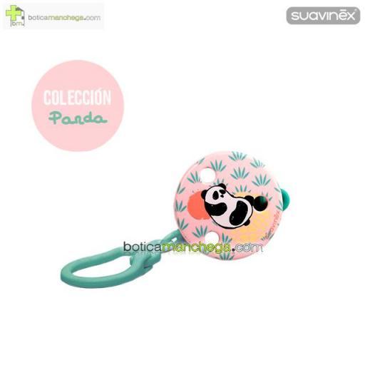 Broche Pinza Redondo +0M  Suavinex, Colección Panda Mod. Rosa