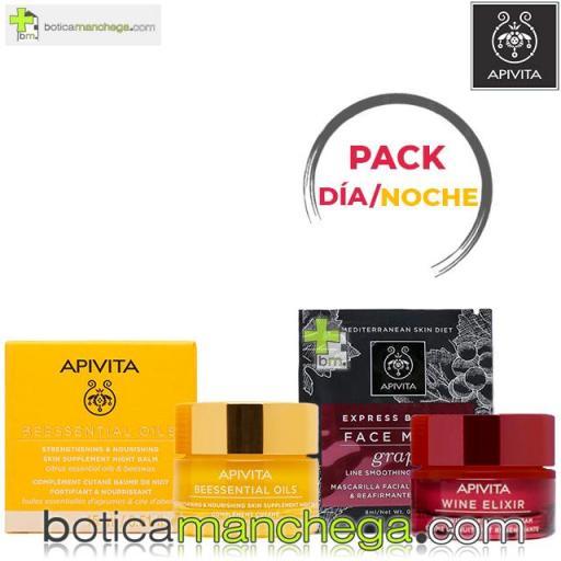 Pack Bálsamo de Noche BEESSENTIAL OILS Apivita con Aceites Esenciales de Cítricos y Cera de Abeja, 15 ml + REGALO Rutina Antiarrugas y Reafirmante