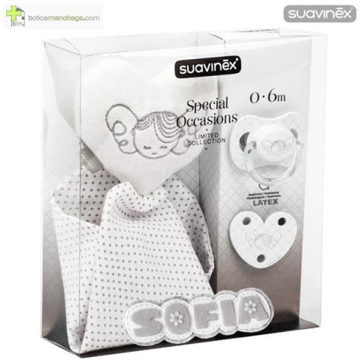 Set Regalo 0-6M Látex SPECIAL OCCASIONS Suavinex PERSONALIZADO con el nombre del Bebé, Limited Collection: Chupete Anatómico + Broche Clip pinza Love + Doudou (pañito-corazón)