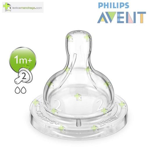Philips AVENT Pack 2 Tetinas 1M+ Silicona CLASSIC+ Flujo Lento