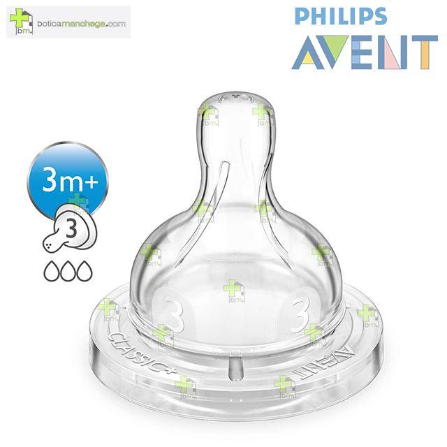 Philips AVENT Pack 2 Tetinas 3M+ Silicona CLASSIC+ Flujo Medio