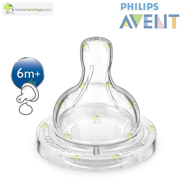 Philips AVENT Pack 2 Tetinas 6M+ Silicona CLASSIC+ Líquidos Espesos