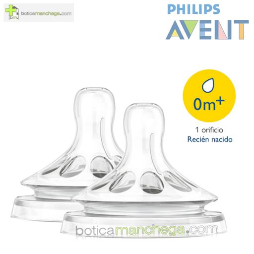 Philips AVENT Tetinas NATURAL 0M+ Flujo Recién Nacido, Pack 2 uds