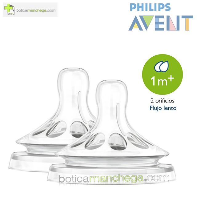 Philips AVENT Tetinas NATURAL 1M+ Flujo Lento, Pack 2 uds