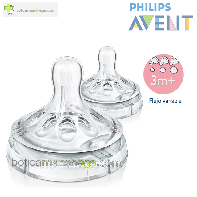 Philips AVENT Tetinas NATURAL 3M+ Flujo Variable, Pack 2 uds