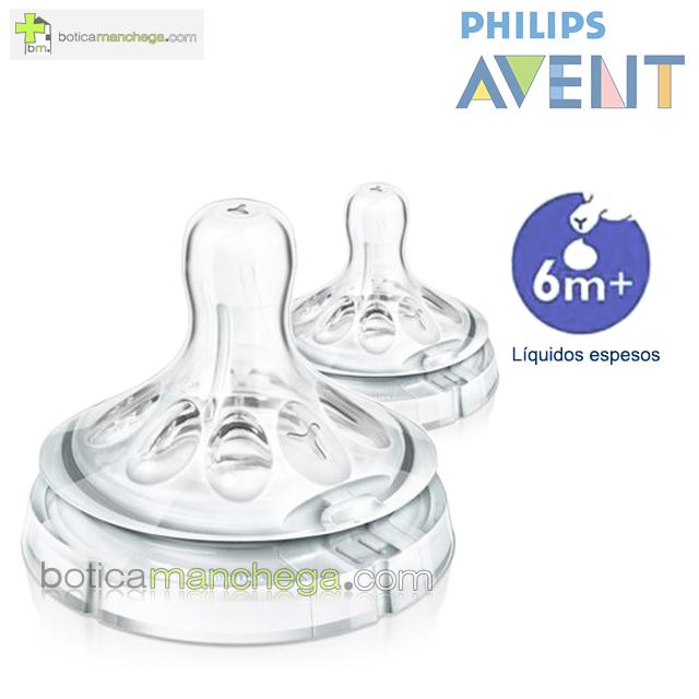 Philips AVENT Tetinas NATURAL 6M+ Líquidos Espesos, Pack 2 uds