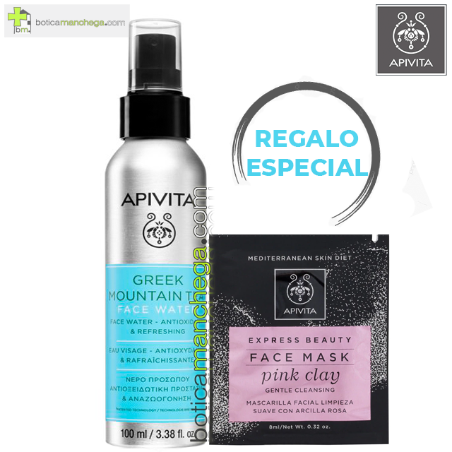 PROMO Agua Facial de Té de Montaña Griego Antioxidante y Refrescante Apivita, 100 ml + REGALO ESPECIAL Mascarilla Facial, 8 ml